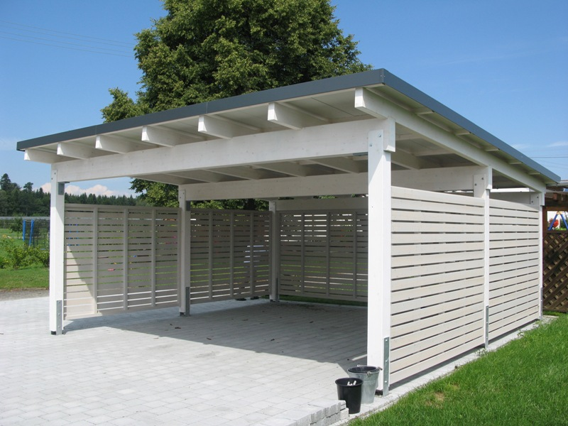 Carport von wachter holz fensterbau wintergarten for Garage column wrap